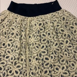 Cream and blue lace skirt